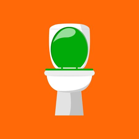 White ceramic toilet in flat style isolated on orange background. Vector illustration EPS 10.