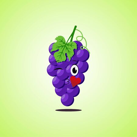 Cartoon Symbol purple grapes sending an air kiss. Cute smiling purple grapes icon isolated on green background. Vector illustration EPS 10. 向量圖像