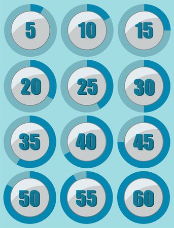 Set of blue stopwatches from 5 to 60 seconds. Vector illustration EPS 10.