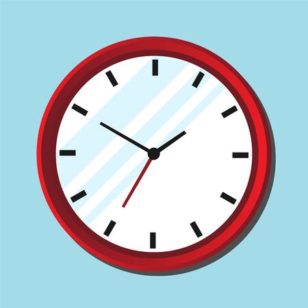 Wall clock icon in flat design with shadow isolated on blue background. Vector illustration EPS 10. 向量圖像