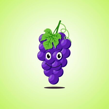 Simple Smiling purple grapes Cartoon Character. Cute smiling purple grapes icon Isolated On Green Background. Vector illustration EPS 10.