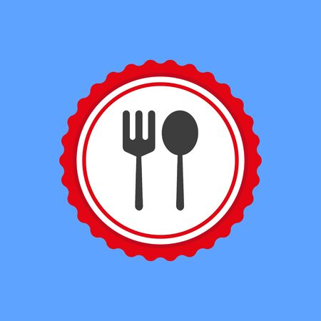 Spoon and fork in round frame red color isolated on blue background. Vector illustration EPS 10. 向量圖像