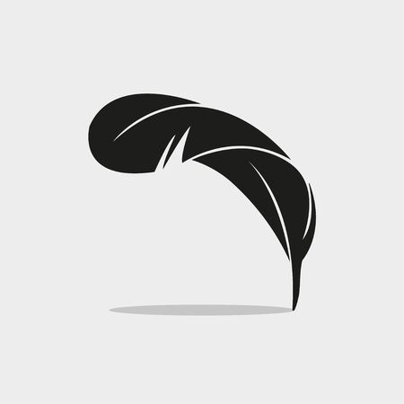 Vector feather silhouette isolated on white background. Option 3. Feather of bird. Vector illustration EPS 10. 向量圖像