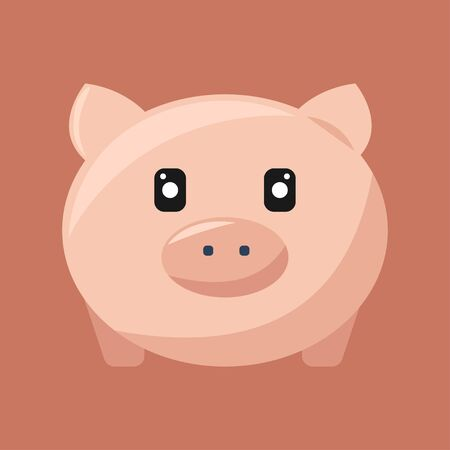 Cute pink pig icon full face isolated on pink background. Vector illustration EPS 10.