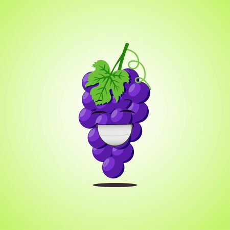 Laughing cartoon purple grapes symbol. Cute smiling purple grapes icon isolated on green background. Vector illustration EPS 10