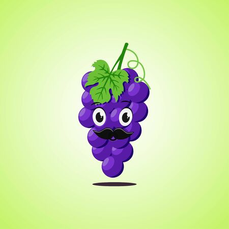 Purple grapes cartoon character with a mustache. Cute laughing purple grapes icon isolated on green background. Vector illustration EPS 10. 向量圖像