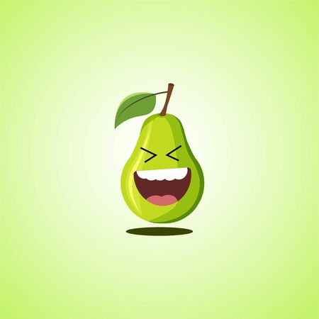 Roar with laughter symbol of the pear. Cute icon of the pear isolated on green background. LOL symbol. Vector illustration EPS 10. 向量圖像