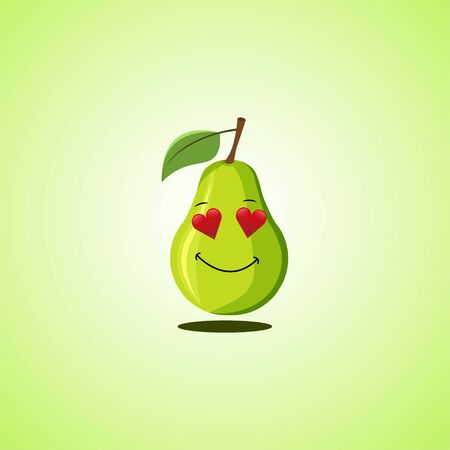 Amorous cartoon pear symbol. Cute smiling pear icon isolated on green background. Vector illustration EPS 10