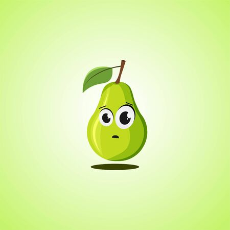 Frightened cartoon pear symbol. Cute icon of the pear isolated on green background. Vector illustration EPS 10.