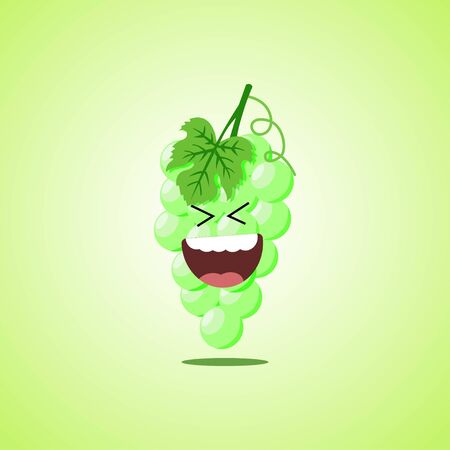 Roar with laughter symbol of the white grapes. Cute icon of the white grapes isolated on green background.