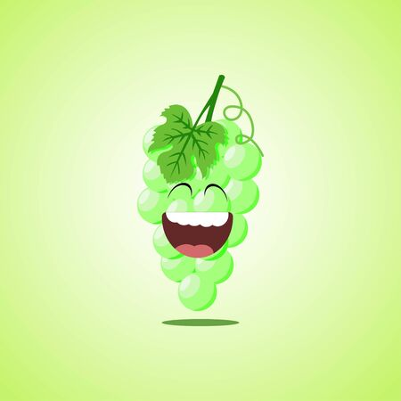 Giggling to tears white grapes Cartoon Character. Cute laughing white grapes icon isolated on green background.