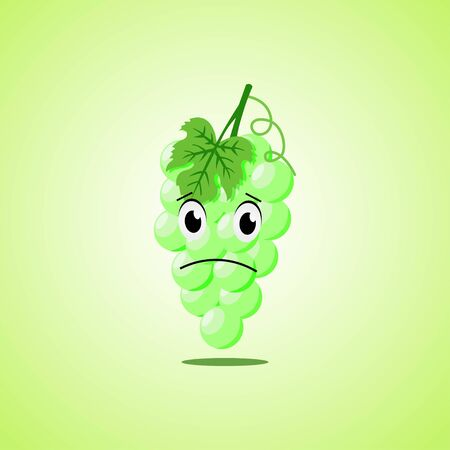 Sad cartoon white grapes symbol. Cute icon of the white grapes isolated on green background.