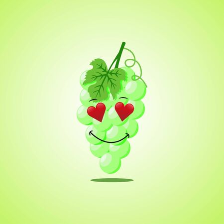 Amorous cartoon white grapes symbol. Cute smiling white grapes icon isolated on green background 向量圖像