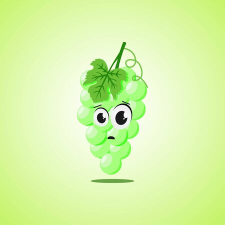 Frightened cartoon white grapes symbol. Cute icon of the white grapes isolated on green background.