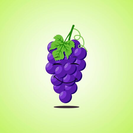 Purple Simple Smiling purple grapes with closed eyes