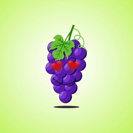 Amorous cartoon purple grapes symbol 向量圖像
