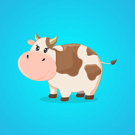 Cute cartoon cow isolated on a blue background