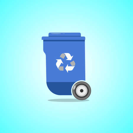 Blue trash can icon isolated on light blue background. Vector illustration