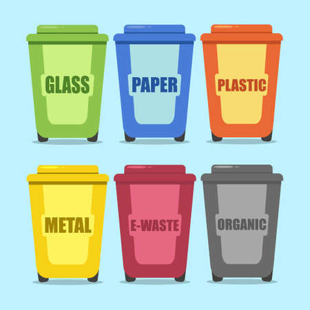 Sorted trash in garbage cans with paper, plastic, metal, organic, e-waste and glass. Recycling vector cartooon concept. 向量圖像
