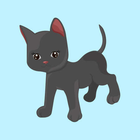 Cute cartoon black kitten isolated on a blue background. Little cat icon.