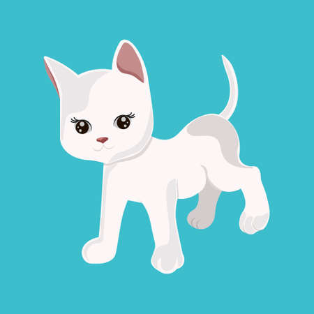 Cute cartoon white kitten isolated on a blue background. Little cat icon.