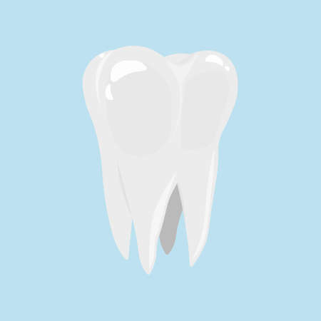 Tooth icon in cartoon style isolated on light blue background. Dental care.