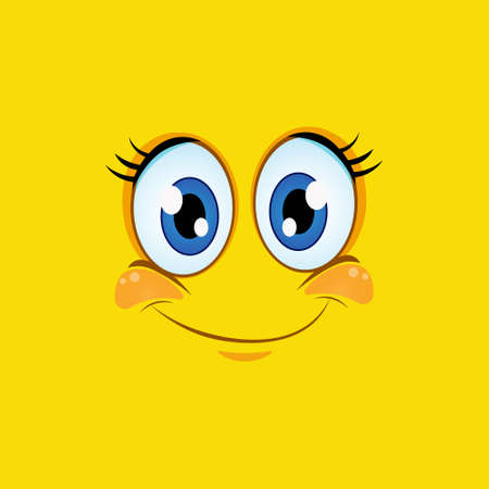 Cartoon smile icon isolated on yellow background. Smiling face suitable for cartoon character mask.