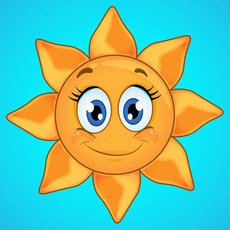 Cartoon smiling sun icon isolated on blue background. Cute sun icon.