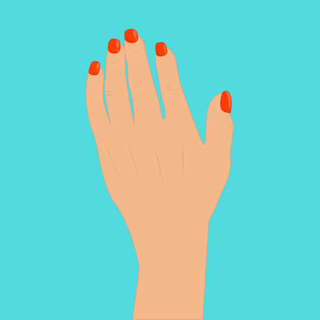 Female hand icon isolated on blue background. Hand brush icon with red manicure.