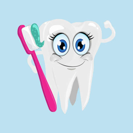 Smiling tooth icon with pink toothbrush and turquoise toothpaste in hands isolated on light blue background. 向量圖像