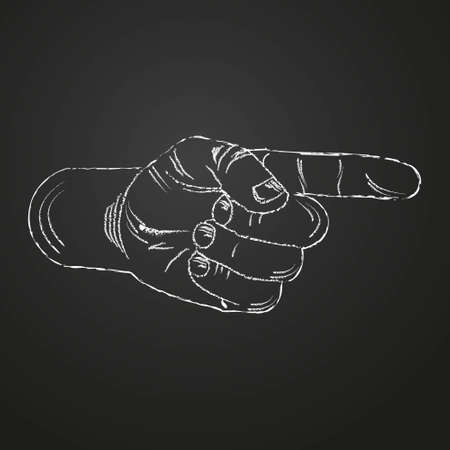 The sign is a pointer in the form of a hand with the index finger pointing to the right. Pointer on the chalk board. 向量圖像