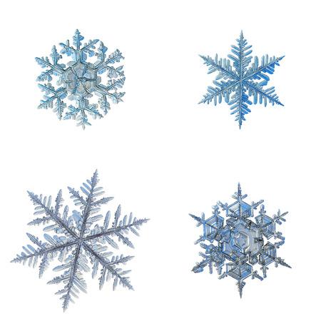 Four snowflakes isolated on white background.