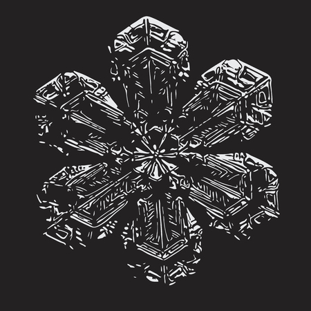 White snowflake on black background. This vector illustration based on macro photo of real snow crystal: beautiful star plate with fine hexagonal symmetry, six short, broad arms and glossy surface.
