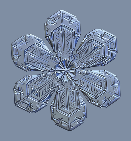 This vector illustration based on macro photo of real snowflake: small snow crystal of star plate type with simple shape and elegant, complex inner pattern. Snowflake glittering on blue background.