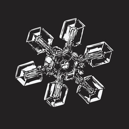 White snowflake on black background. This vector illustration based on macro photo of real snow crystal: unusual star plate with six simple, broad arms, massive hexagonal center and glossy relief surface.