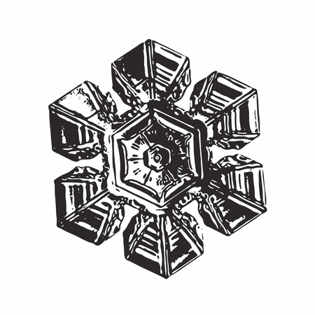 Black snowflake on white background. This vector illustration based on macro photo of real snow crystal: beautiful star plate with hexagonal symmetry, six short broad arms and complex inner pattern.