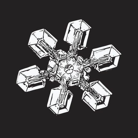 White snowflake on black background. This vector illustration based on macro photo of real snow crystal: unusual star plate with six simple arms, massive hexagonal center and glossy relief surface.