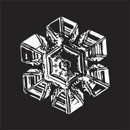 White snowflake on black background. This vector illustration based on macro photo of real snow crystal: beautiful star plate with hexagonal symmetry, six short broad arms and complex inner pattern. Illustration