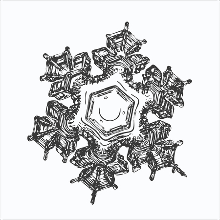 Snowflake on white background. This vector illustration based on macro photo of real snow crystal: beautiful star plate with fine hexagonal symmetry, six short, broad arms and glossy relief surface.
