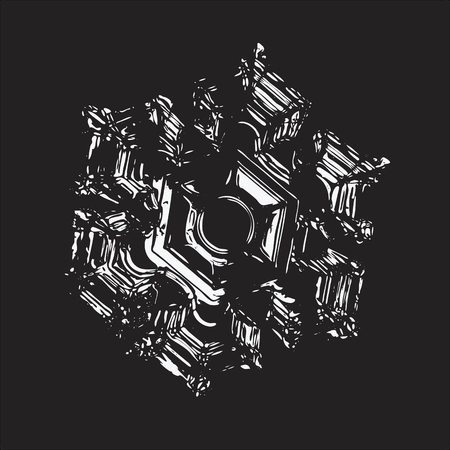 Snowflake on black background. This vector illustration based on macro photo of real snow crystal: elegant star plate with six short, broad arms, fine symmetry and relief central hexagon. Illustration