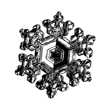 Snowflake on white background. This illustration based on macro photo of real snow crystal: beautiful star plate with fine hexagonal symmetry, six short, broad arms and glossy surface. Stock Photo