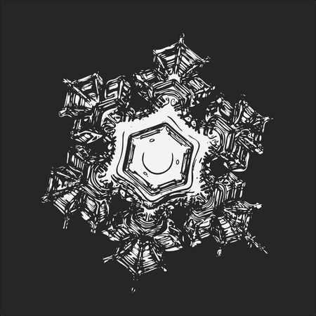 Snowflake on black background. This vector illustration based on macro photo of real snow crystal: beautiful star plate with fine hexagonal symmetry, six short, broad arms and glossy relief surface. Illustration