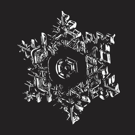 White snowflake on black background. This vector illustration based on macro photo of real snow crystal: star plate with hexagonal symmetry, six short, broad arms, elegant shape and relief surface. Illustration