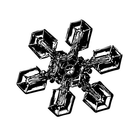 Snowflake on white background. This illustration based on macro photo of real snow crystal: unusual star plate with six simple, broad arms, massive hexagonal center and glossy relief surface.