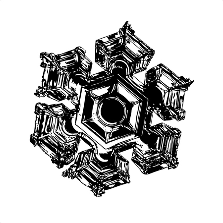 Black snowflake on white background. This vector illustration based on macro photo of real snow crystal: elegant star plate with six short, broad arms and large, relief hexagon in the center.