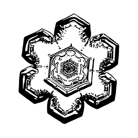 Black snowflake on white background. This illustration based on macro photo of real snow crystal: small star plate with simple hexagonal shape and unusually complex inner pattern for such size. Stock Photo