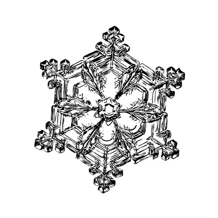 Transparent snowflake on white background. This illustration based on macro photo of real snow crystal: small star plate with six short, broad arms, glossy surface and complex inner structure.
