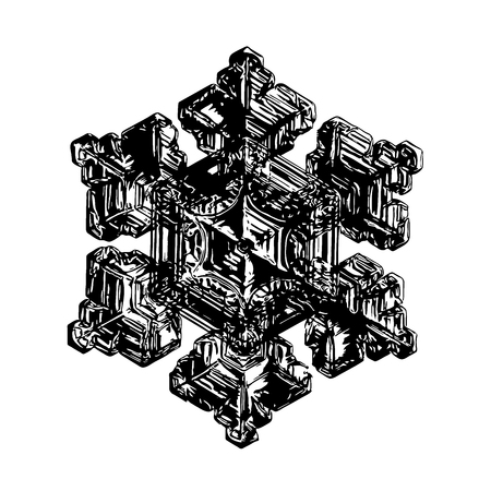 Black snowflake on white background. This illustration based on macro photo of real snow crystal: beautiful star plate with fine hexagonal symmetry, six short, broad arms and glossy surface.
