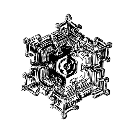 Snowflake on white background. This illustration based on macro photo of real snow crystal: small star plate with six short, broad arms, glossy surface and complex inner structure. Stock Photo