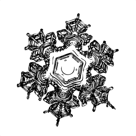 Snowflake on white background. This illustration based on macro photo of real snow crystal: beautiful star plate with fine hexagonal symmetry, six short, broad arms and glossy relief surface. Stock Photo